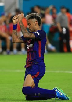Neymar of Barcelona reacts in the second half against Real Madrid during their International Champions Cup 2017 match at Hard Rock Stadium on July 2017 in Miami Gardens, Florida. Neymar Jr, Neymar Football, Messi, Neymar Brazil, Mohawk Hairstyles Men, International Champions Cup, Miami Gardens, Best Football Players, Professional Football