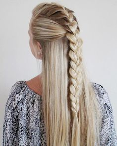 half-up french plait faux hawk