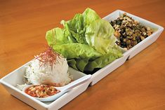 Thai Lettuce Wraps (Larb Chicken in Bibb Lettuce Cups with Chili Cucumbers and Jasmine Rice) Adapted from the recipe by Chef Robert Lewis, Maxine's Fireweed Bistro