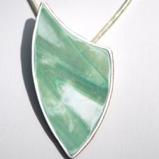 Green and White Sparkly Arrowhead Pendant