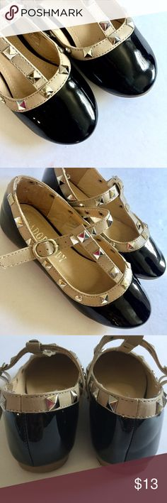 Size 9• Black Studded Dress Shoes No marks on the shoe as the lightening makes it seem like there is • Studs all in tact •Slight imperfections of loose threading the heel part please see photo. Otherwise in excellent condition Shoes Dress Shoes