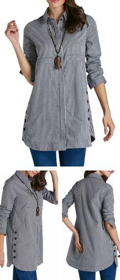 Plaid Print Turndown Collar Button Up Curved Shirt