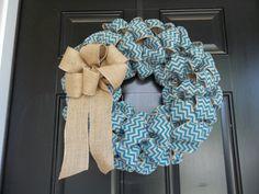 "18""  Turquoise  Chevron Burlap Wreath, door wreath, burlap wall decor by cindidavis1 on Etsy https://www.etsy.com/listing/150323820/18-turquoise-chevron-burlap-wreath-door"