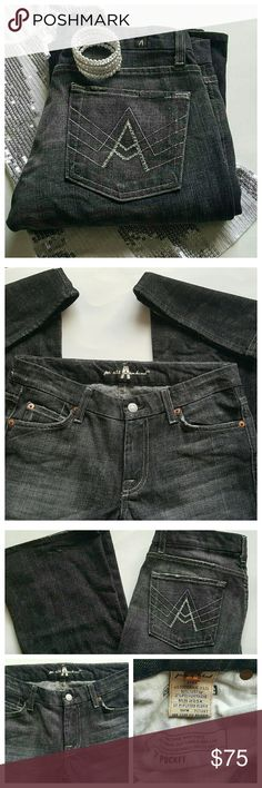 """7 For all Mankind """"A"""" Pocket Sequin Flare Jeans 7 For All Mankind low rise jeans, size 28. Faded black denim. """"A"""" back pockets with rhinestone along the A. 31"""" Waist, 7.5"""" Front Rise, 34"""" Inseam. Excellent condition, no flaws. 98% Cotton/2% Polyurethane. 7 For All Mankind Jeans Flare & Wide Leg"""