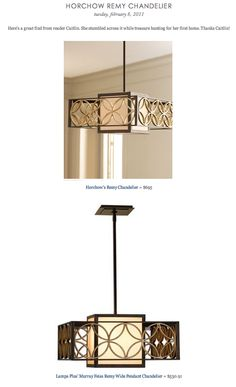 COPY CAT CHIC FIND: Horchow's Remy Chandelier VS Lamps Plus' Murray Feiss Remy Wide Pendant Chandelier