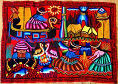 Lake Titicaca activities, Uros Floating Islands, Puno. Wool embroidery