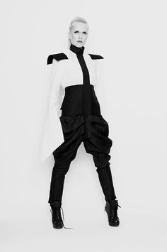 military-esque black and white jumpsuit.  Madonna chic.