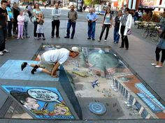 If you seek amazing street art illusions, then this is the place to find them. Check out all of the cool street art illusions we offer. 3d Street Art, Amazing Street Art, Street Art Graffiti, Amazing Art, Graffiti Artwork, Amazing Things, Illusion Kunst, Illusion Art, Street Painting