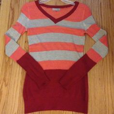 Stripe knit top Adorable knit top.   Excellent condition. Coral, beige and burgundy colors. Sweaters V-Necks