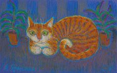 Ginger Cat In The Dark by Anna Yarmolyuk
