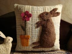 Primitive Rabbit and Flower Pot Pillow