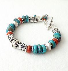 Turquoise Coral Freshwater Pearl Silver Bracelet Southwest Native American Trending Stacking Handmade Blue Green Rust Trendy Jewelry Gift by connectionsbymaya on Etsy