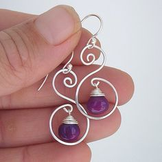 Pretty Hand formed and Hand Hammered Swirl/Scroll Earrings, Featuring a Pretty Purple Chalcedony Briolette. Earrings measure approx. 1 inch (not