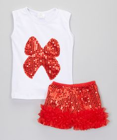Take a look at the Little Miss Fairytale White Sequin Bow Tank & Red Shorts - Infant, Toddler & Girls on #zulily today!