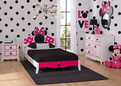 Delta Children Minnie Mouse Wooden Twin Bedroom Collection room shot a1a #decoracionniñascuartos