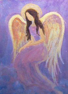 painting angels | ... Cod Artist Original Acrylic Painting Healing Angel with Metallic Shine