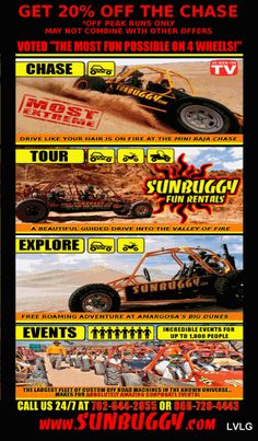 Discount Coupon for 20% Off Sunbuggy Fun Rentals, Chase dune buggy package, North Las Vegas