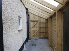 Lean to shed, made to measure, roofing over side passage of house. Creating great storage, that otherwise would be taken up in premier garden space with a conventional garden shed shed design shed diy shed ideas shed organization shed plans
