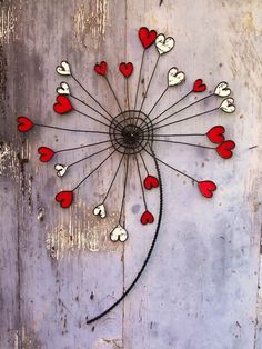 Flower in wire in dandelion in wall decoration in flower metal in fabric . - Flower in wire in dandelion in wall decoration in flower metal in fabric in decoration boho in gift - # New Home Presents, Stained Glass Flowers, Deco Boheme, Metal Wall Sculpture, Heart Wall, Valentines Day Decorations, Wire Crafts, Wire Art, Fabric Decor