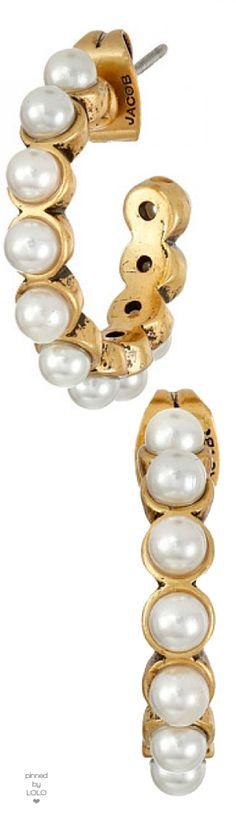 Marc Jacobs Pearl Cabochon Hoops Earrings
