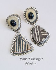 Schaef Designs Anasazi Pottery Shard, deer antler, black onyx & sterling silver asymmetrical post earrings | New Mexico