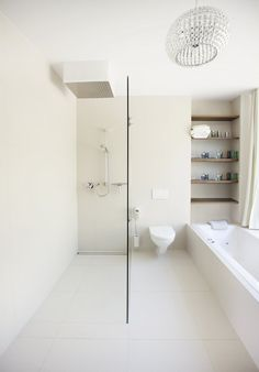 I love the simplicity of this, and the ease of use. I would put the toilet elsewhere (stinky = unpleasant when having a relaxing bath or shower. Love the shelves above the bath. I would install a separate spigot and small basin in the shower and a full body blow dryer just outside the shower.