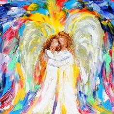 Original oil painting #Angel Hugs palette knife by Karensfineart