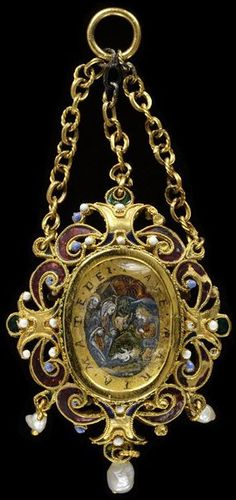 Enamelled gold pendant set with paintings in verre eglomisé of the Annunciation and the Nativity, and hung with pearls, Sicily, 17th century.