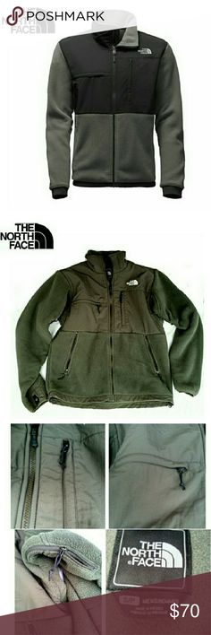 """THE NORTH FACE RECYCLE GREEN & GRAY DENALI JACKET THE NORTH FACE RECYCLED GRIP GREEN/ASPHALT GRAY DENALI JACKET Pre-Loved  /2nd Pic for Similarity  Men's S/P but Could Fit a Woman! Zippers Everywhere! *   Zippers Under Arm for Vents *   Zipper Side Pockets *   Front Horizontal & Vertical Zippers Please See Last Pic for Rest of Description Approx Meas ; Length from Back  28"""" From Arm Pit L   20"""" Chest L   23"""" This is a Very Warm, WELL Made & Comfortable Jacket Pls See All Pics  & Ask ? If…"""