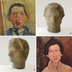 "1 - 1918 AUTO PORTRAIT de CHAIM SOUTINE  (Collection Pearlman) / 2 et 3 - 1918 - Sculpture TETE DE CHAIM SOUTINE sculptée par LEON INDENBAUM  / 4 - 1916 - PORTRAIT de CHAIM SOUTINE par AMADEO MODIGLIANI. Léon Indenbaum a accueilli Chaim Soutine et  Amadeo Modigliani dans son atelier de ""La Ruche"" à Paris. Pour aider ses amis, Léon Indenbaum, a acheté plusieurs peintures et sculptures de Chaim Soutine, d'Amadeo Modigliani, de Diego Rivera ..."
