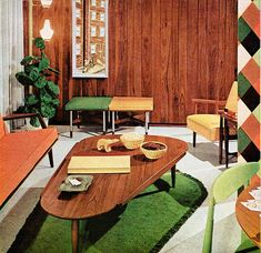 Stylish living room from the book Better Homes and Gardens Decorating Ideas, published by Meredith Publishing Co., 1960 Digging the plant and floor house design designs design home design Mid-century Interior, Vintage Interior Design, Vintage Interiors, Interior Garden, Modern Interiors, Mid Century Living Room, My Living Room, Retro Living Rooms, House Design Photos