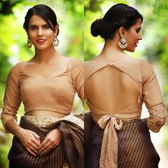 Bow-tie is not just for the men. This beige chiffon blouse with a tie-up back shows how to rock a western trend at ease. The elbow length Saree Jacket Designs, Saree Blouse Neck Designs, Fancy Blouse Designs, Bridal Blouse Designs, Lehenga Designs, Dress Designs, Stylish Blouse Design, Designer Blouse Patterns, Chiffon