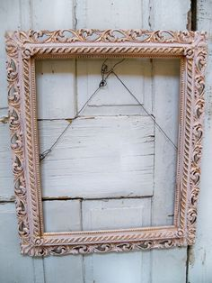 VIntage large ornate pink frame shabby chic wood and gesso painted wall decor Anita Spero