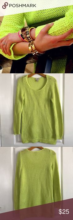 """LOFT Lime Green Open Knit Pullover Tunic Bright round boat neck open knit Tunic sweater. Long sleeves with body con fit. Ribbed hem. In excellent condition. Pit to pit 18"""" Length 29"""" LOFT Sweaters Crew & Scoop Necks"""