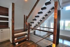 Finished Houses-Interiors – Rustic – Staircase – new york – by Staircases In Houses Loft Railing, Staircase Railings, Staircase Design, Staircases, Cable Railing, Stair Risers, Beach Stairs, Rustic Staircase, Open Stairs
