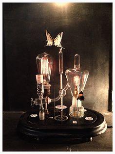Lampe cabinet de curiosité globe 19ème Napoléon III matériel de chimie papillons Pérou decoration vintage luminaire deco antiquite antiquaire Bondues lill nord france