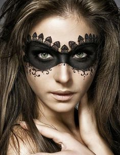 Devastatingly beautiful lace inspired Halloween makeup. Give full attention to your eyes with this lace themed face paint depicting a black ball mask perfect for a night of terror.