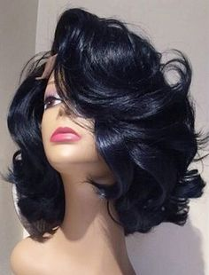 "12"" Side Bangs Wavy Wigs African American Wigs The Same As The Hairstyle In Picture - Human Hair Wigs For Black Women"