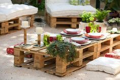 Decorating Mania: New section: Sustainability...pallet patio...low profile dining