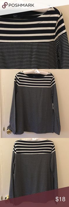 NWT Gap shirt Brand new long sleeved shirt from Gap! Cute boat neck detail and side slits on the bottom hem. Dark navy blue with white stripes. Perfect for fall! 100% cotton, size small. GAP Tops Tees - Long Sleeve