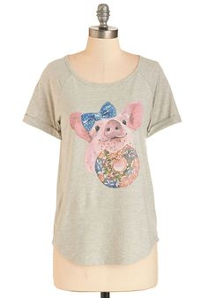 Cutest Confection Tee. Some go to the market, some stay home, but you strut with glee, glee, glee to the bakery in this adorable grey tee! #grey #modcloth