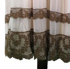 "FOR SALE!! Vintage Jenelle Goddess nightgown in double layer mocha color chiffon, chocolate lace and floating over creamy vanilla nylon. The hemline of 5"" wide cocoa lace is just to die for! Bust: 36"" Waist: 40"" Hips: free Length: 54"" Sweep: 84"" In excellent condition. #66"