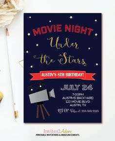 movie night birthday party invitation movie birthday party
