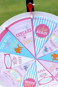 circus prize wheel Informations About Girls Circus Birthday Party - Design Dazzle Pin You can easily Carnival Themed Party, Carnival Birthday Parties, Birthday Party Games, First Birthday Parties, Circus Party Games, Girl Parties, Spa Birthday, Birthday Ideas, Carousel Birthday