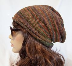 Slouchy beanie ski hat  handmade recycled sweater upcycled eco clothing fall colors brown accessories unisex adult men women