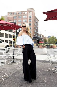 ruffled top with wide leg pants