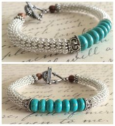 Turquoise Bangle Coiled Bracelet, Jewelry, Gift For Her, Accessories For Women, Silver Bracelet, Steampunk
