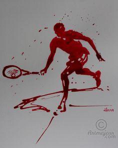 tennis-n-14-dessin-d-ibara-a-l-encre-rouge-sur-papier-aquarelle-300gr-format-30cm-sur-42cm.jpg - Dibujo,  42x30 cm ©2015 por IBARA -                                                            Expresionismo, Papel, Deportes, tennis, hommes rouges ibara