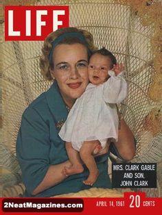 Life Magazine April 14, 1961 : Cover - Mrs. Clark Gable and son, John Clark.