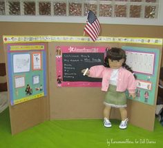 "Here's another great tutorial from Doll Diaries.  This time it is about making a doll classroom.  She even provides free ""printables"" for many of the items seen in this picture."